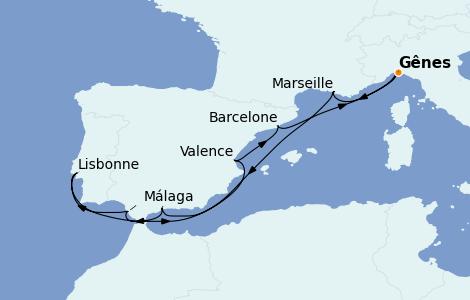 Itinéraire de la croisière Méditerranée 9 jours à bord du MSC Fantasia