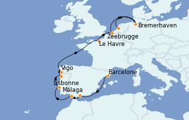 Itinéraire de la croisière Méditerranée 13 jours à bord du Costa Fortuna