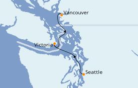 Itinéraire de la croisière Alaska 4 jours à bord du Ovation of the Seas