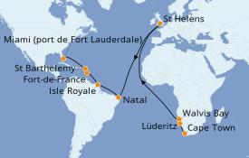 Itinéraire de la croisière Caraïbes de l'Est 23 jours à bord du Pacific Princess