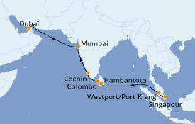 Itinéraire de la croisière Inde 16 jours à bord du Azamara Journey