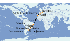 Itinéraire de la croisière Amérique du Sud 21 jours à bord du MSC Sinfonia
