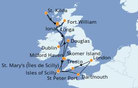 Itinéraire de la croisière Îles Britanniques 15 jours à bord du Silver Cloud Expedition
