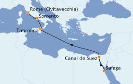 Itinéraire de la croisière Méditerranée 8 jours à bord du Silver Whisper