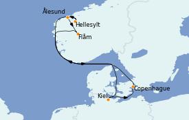 Itinéraire de la croisière Fjords & Norvège 8 jours à bord du MSC Seaview