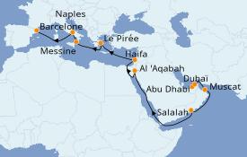 Itinéraire de la croisière Dubaï - Emirats 22 jours à bord du Costa Diadema