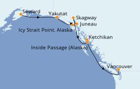 Itinéraire de la croisière Alaska 8 jours à bord du Radiance of the Seas