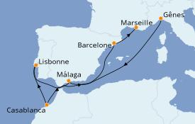 Itinéraire de la croisière Méditerranée 9 jours à bord du MSC Virtuosa