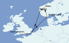 Itinéraire de la croisière Fjords & Norvège 8 jours à bord du Celebrity Silhouette