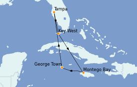 Itinéraire de la croisière Caraïbes de l'Ouest 7 jours à bord du Carnival Paradise