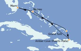 Itinéraire de la croisière Caraïbes de l'Est 7 jours à bord du Carnival Celebration