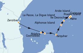 Itinéraire de la croisière Océan Indien 12 jours à bord du Silver Explorer