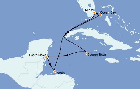 Itinéraire de la croisière Caraïbes de l'Ouest 7 jours à bord du MSC Divina