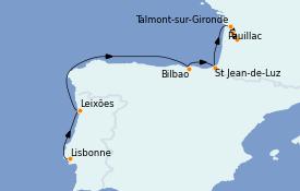 Itinéraire de la croisière Atlantique 11 jours à bord du L'Austral