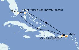 Itinéraire de la croisière Caraïbes de l'Est 8 jours à bord du Norwegian Joy