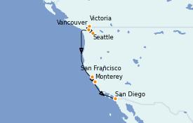 Itinéraire de la croisière Californie 12 jours à bord du Silver Wind