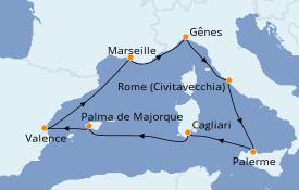Itinéraire de la croisière Méditerranée 8 jours à bord du MSC Fantasia