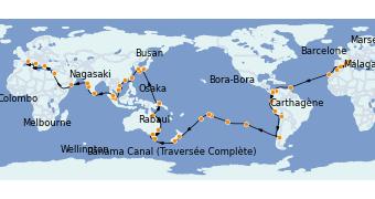 Itinéraire de la croisière Tour du Monde 2022 114 jours à bord du Costa Deliziosa