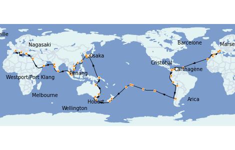Itinéraire de la croisière Tour du Monde 2022 113 jours à bord du Costa Deliziosa