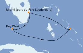 Itinéraire de la croisière Bahamas 5 jours à bord du ms Nieuw Statendam
