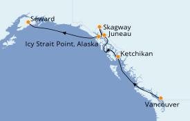 Itinéraire de la croisière Alaska 8 jours à bord du Seven Seas Explorer