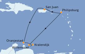 Itinéraire de la croisière Caraïbes de l'Est 8 jours à bord du Azamara Journey