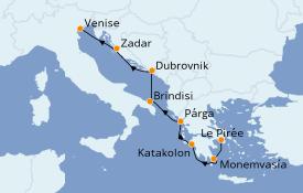 Itinéraire de la croisière Grèce & Adriatique 8 jours à bord du Seabourn Ovation