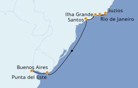 Itinéraire de la croisière Amérique du Sud 8 jours à bord du Norwegian Star