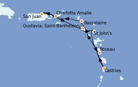 Itinéraire de la croisière Caraïbes de l'Est 8 jours à bord du Silver Dawn