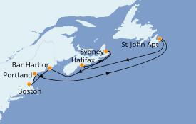Itinéraire de la croisière Canada 8 jours à bord du ms Zaandam