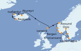 Itinéraire de la croisière Fjords & Norvège 13 jours à bord du Seven Seas Explorer