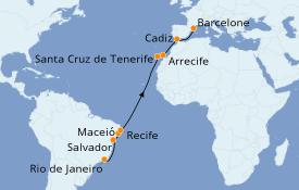 Itinéraire de la croisière Méditerranée 19 jours à bord du Seven Seas Voyager