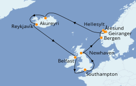 Itinéraire de la croisière Fjords & Norvège 15 jours à bord du Norwegian Star