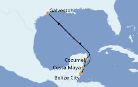 Itinéraire de la croisière Caraïbes de l'Ouest 7 jours à bord du Carnival Vista