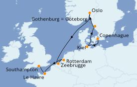 Itinéraire de la croisière Mer Baltique 10 jours à bord du Carnival Mardi Gras