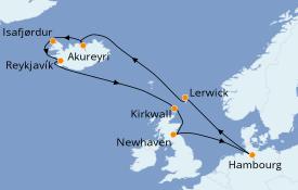 Itinéraire de la croisière Exploration polaire 13 jours à bord du MSC Preziosa
