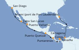 Itinéraire de la croisière Riviera Mexicaine 16 jours à bord du Celebrity Summit