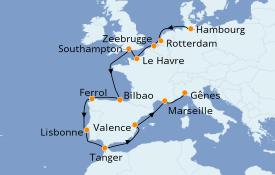 Itinéraire de la croisière Méditerranée 16 jours à bord du MSC Magnifica