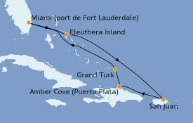 Itinéraire de la croisière Caraïbes de l'Est 8 jours à bord du Sky Princess