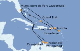 Itinéraire de la croisière Caraïbes de l'Est 17 jours à bord du Discovery Princess