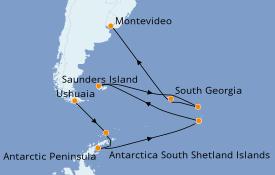 Itinéraire de la croisière Exploration polaire 18 jours à bord du Le Commandant Charcot
