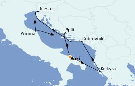 Itinéraire de la croisière Grèce & Adriatique 8 jours à bord du MSC Fantasia