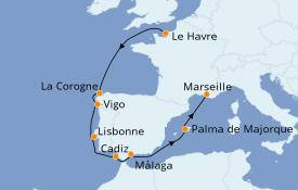 Itinéraire de la croisière Méditerranée 10 jours à bord du Costa Fortuna