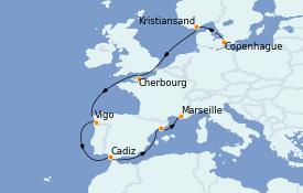 Itinéraire de la croisière Transatlantiques et Grands Voyages 2022 11 jours à bord du Costa Diadema