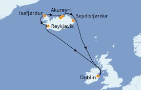 Itinéraire de la croisière Exploration polaire 13 jours à bord du Azamara Quest