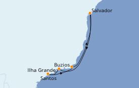 Itinéraire de la croisière Amérique du Sud 7 jours à bord du MSC Seaview