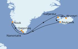 Itinéraire de la croisière Exploration polaire 12 jours à bord du Norwegian Star