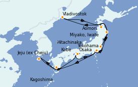 Itinéraire de la croisière Asie 17 jours à bord du Diamond Princess