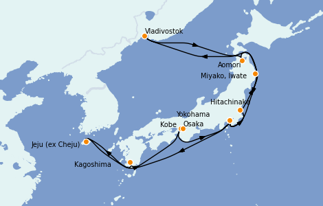 Itinéraire de la croisière Asie 16 jours à bord du Diamond Princess