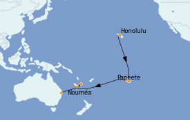 Itinéraire de la croisière Transatlantiques et Grands Voyages 2022 20 jours à bord du Quantum of the Seas